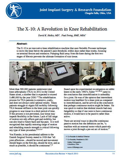 X10: A Revolution in Knee Surgery Recovery