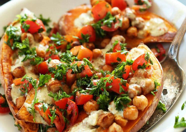 Baked-Sweet-Potatoes-with-Tahini-Sauce
